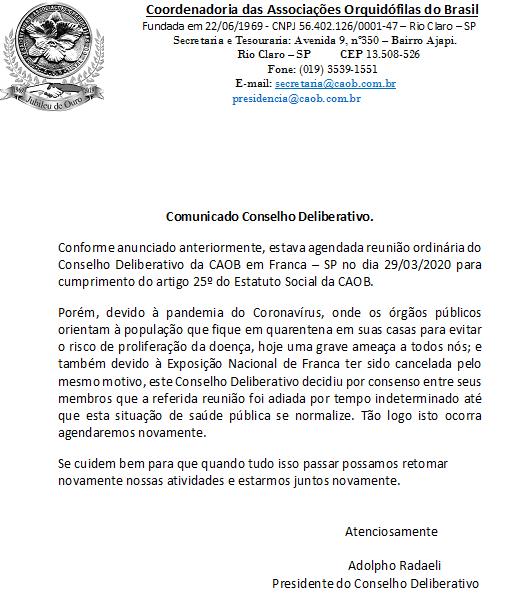 Cancelamento Reunião do Conselho Deliberativo