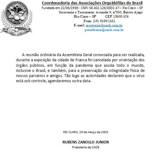 Cancelamento da Assembleia Geral